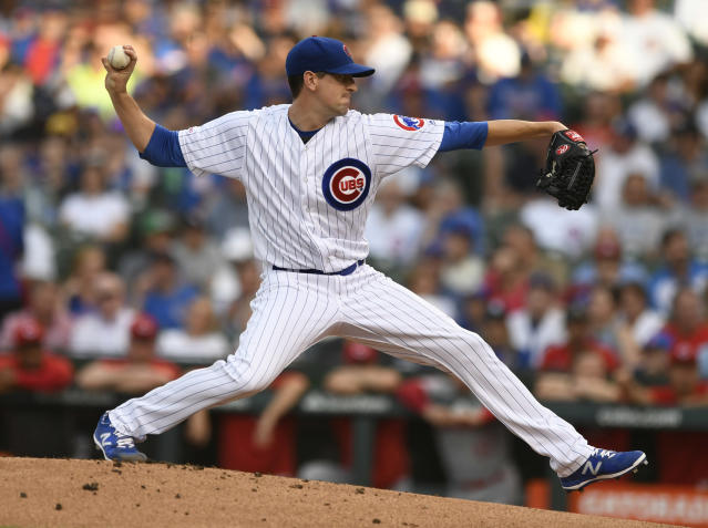 Chicago Cubs starter Kyle Hendricks delivers a pitch during the first inning of a baseball game against the Cincinnati Reds, Monday, July 15, 2019, in Chicago. (AP Photo/Paul Beaty)