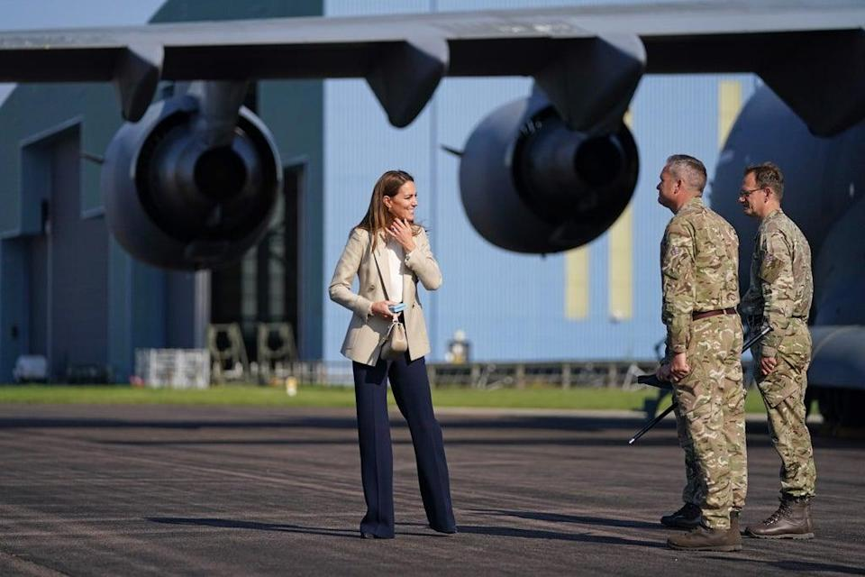 The Duchess of Cambridge visited RAF Brize Norton and met personnel involved in rescue efforts from Afghanistan (Steve Parsons/PA) (PA Wire)
