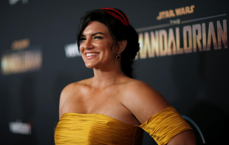 Cast member Gina Carano poses at the premiere for the television series