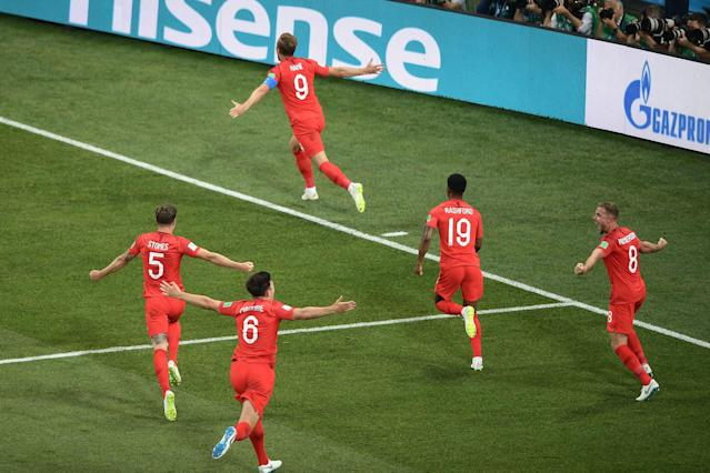 Harry Kane celebrates his winning goal for England against Tunisia at the 2018 World Cup. (Getty)