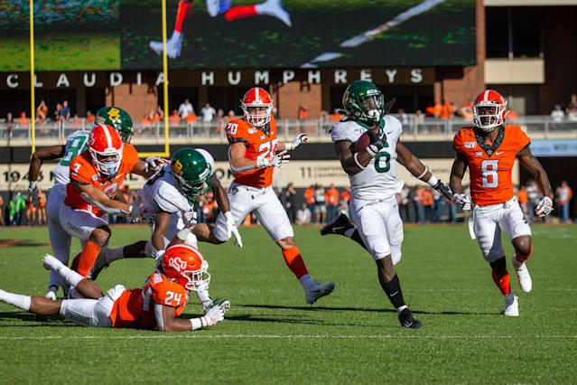 """<a class=""""link rapid-noclick-resp"""" href=""""/ncaaf/players/258521/"""" data-ylk=""""slk:JaMycal Hasty"""">JaMycal Hasty</a> scored twice as Baylor moved to 7-0 on Saturday. (Photo by William Purnell/Icon Sportswire via Getty Images)"""