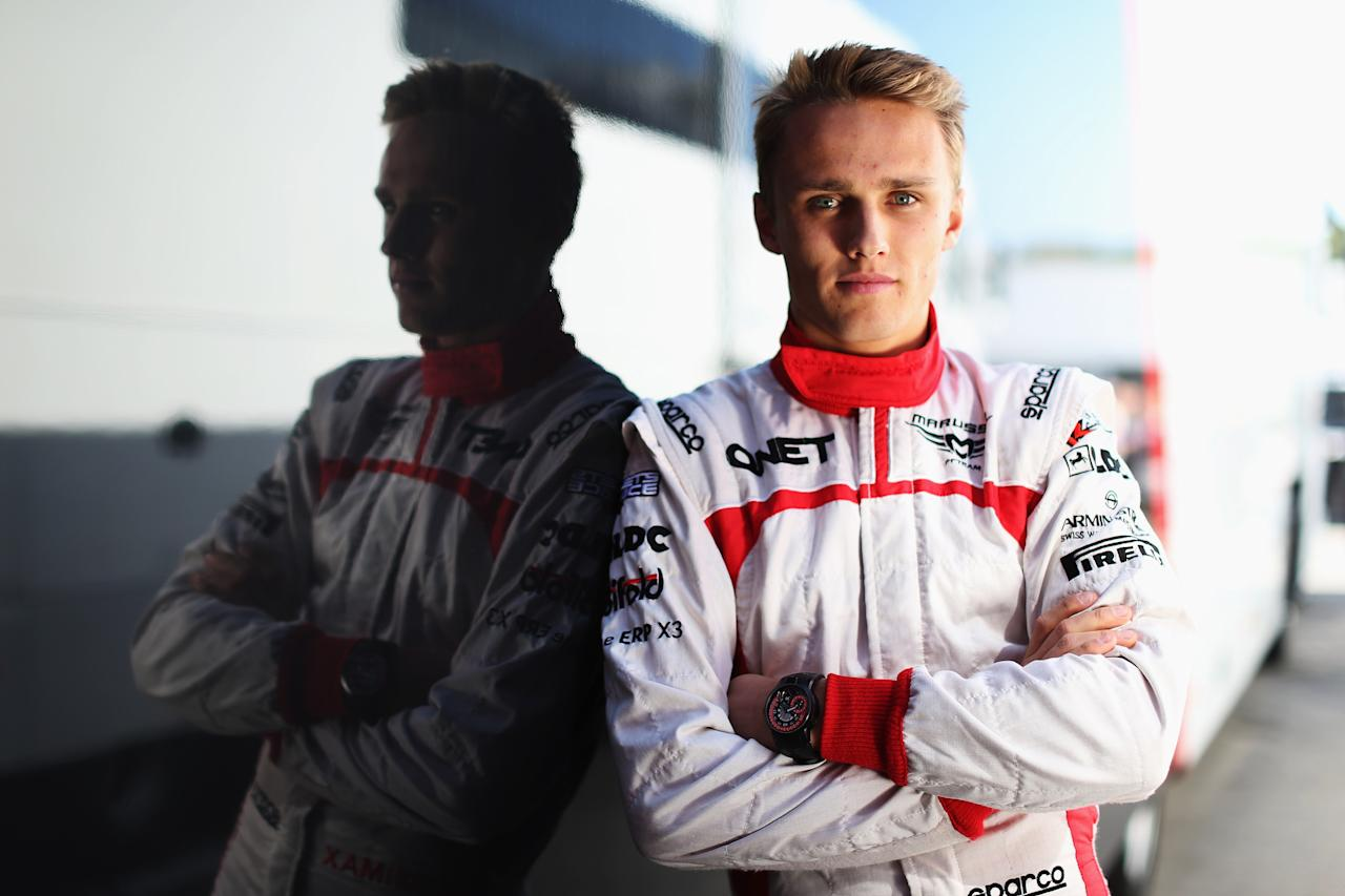 MONTMELO, SPAIN - MARCH 02:  Max Chilton of Great Britain and Marussia poses for a photograph during day three of Formula One winter testing at the Circuit de Catalunya on March 2, 2013 in Montmelo, Spain.  (Photo by Mark Thompson/Getty Images)