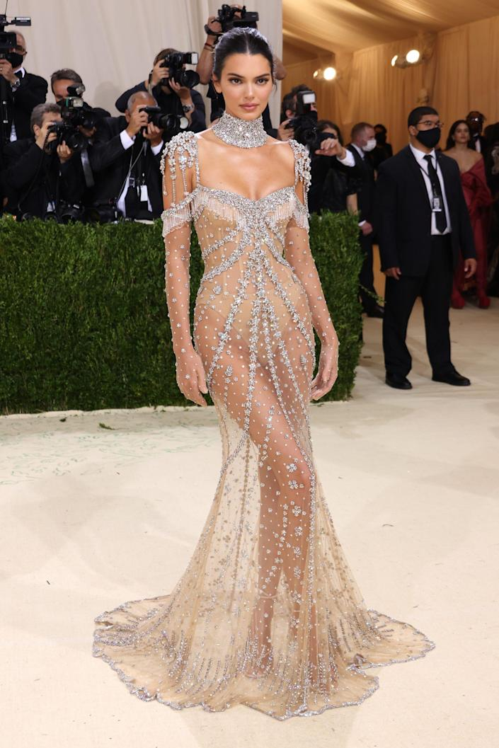 Kendall Jenner Wore the Ultimate Crystal Covered Nude Dress at the Met Gala