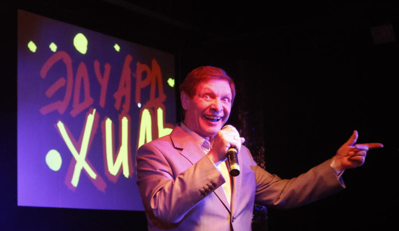 "FILE - In this April 24, 2010 file photo, Russian singer Eduard Khil, known as ""Mr. Trololo"", performs during his concert in Moscow. Soviet crooner Khil , who gained international stardom in 2010 when his 1976 video of a vocalized song known as Trololo became a global Internet hit, died in St. Petersburg Sunday, June 3, 2012. (AP Photo/Sergey Ponomarev, File)"