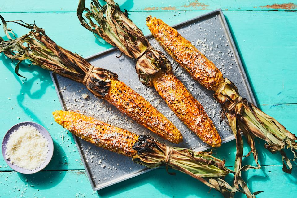 "Do grilled vegetables get better than this Mexican street-food favorite? Nah. We'll be making this grilled corn recipe with flavor-packed chipotle mayonnaise and crumbly Cotija all summer long. And that's pretty much the whole ingredient list, too. Start shucking your cobs and you'll be ready to devour a few delicious ears in no time. <a href=""https://www.epicurious.com/recipes/food/views/3-ingredient-grilled-mexican-street-corn-elote?mbid=synd_yahoo_rss"" rel=""nofollow noopener"" target=""_blank"" data-ylk=""slk:See recipe."" class=""link rapid-noclick-resp"">See recipe.</a>"