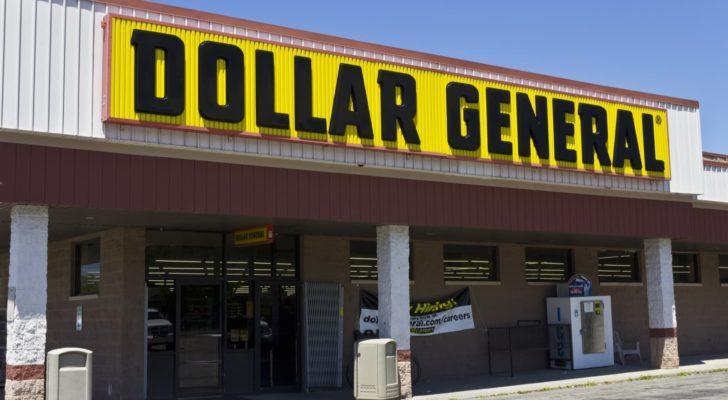 Dollar General (DG) store front with yellow store sign, midday
