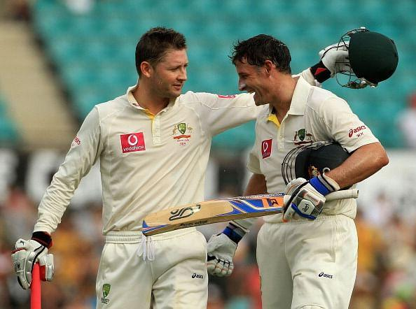 Micheal Clarke and Mike Hussey: Not as friendly as they look
