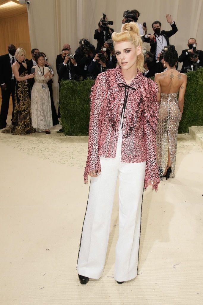 <p>The <em>Spencer </em>star was one of the latest arrivals on the red carpet, but she was worth waiting for. In a Chanel ensemble that showcased her particular knack for combining leisure wear with couture and making it look effortless, she was almost unrecognizable in her curled blonde bangs and high pony. </p>
