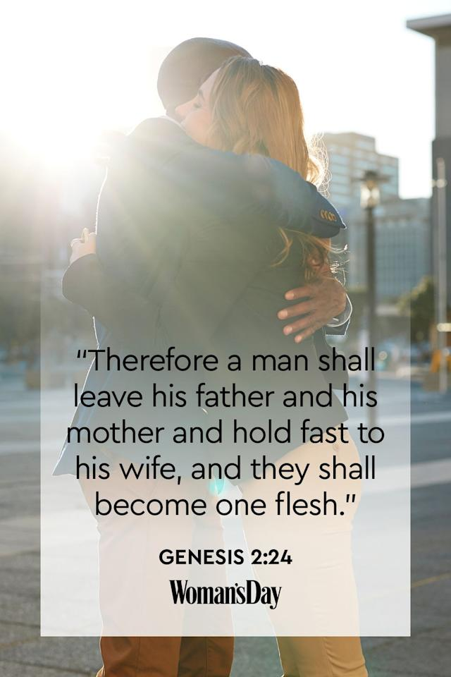 "<p>""Therefore a man shall leave his father and his mother and hold fast to his wife, and they shall become one flesh.""</p><p><strong>The Good News: </strong>God intended for couples to leave their families and create whole new ones with each other. They will become one unit and rely on each other, just as they watched their parents do for years. </p>"