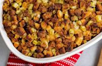 """<p>Everyone has an internally <a href=""""https://www.thedailymeal.com/holidays/thanksgiving-side-dishes-ranking?referrer=yahoo&category=beauty_food&include_utm=1&utm_medium=referral&utm_source=yahoo&utm_campaign=feed"""" rel=""""nofollow noopener"""" target=""""_blank"""" data-ylk=""""slk:ranked list of their favorite Thanksgiving side dishes"""" class=""""link rapid-noclick-resp"""">ranked list of their favorite Thanksgiving side dishes</a>, and stuffing is usually up there as No. 1. Made with the usual suspects of celery, bread cubes, thyme and poultry seasoning, this recipe keeps things classic.</p> <p><a href=""""https://www.thedailymeal.com/recipes/classic-herb-stuffing-recipe?referrer=yahoo&category=beauty_food&include_utm=1&utm_medium=referral&utm_source=yahoo&utm_campaign=feed"""" rel=""""nofollow noopener"""" target=""""_blank"""" data-ylk=""""slk:For the Classic Herb Stuffing recipe, click here."""" class=""""link rapid-noclick-resp"""">For the Classic Herb Stuffing recipe, click here.</a></p>"""