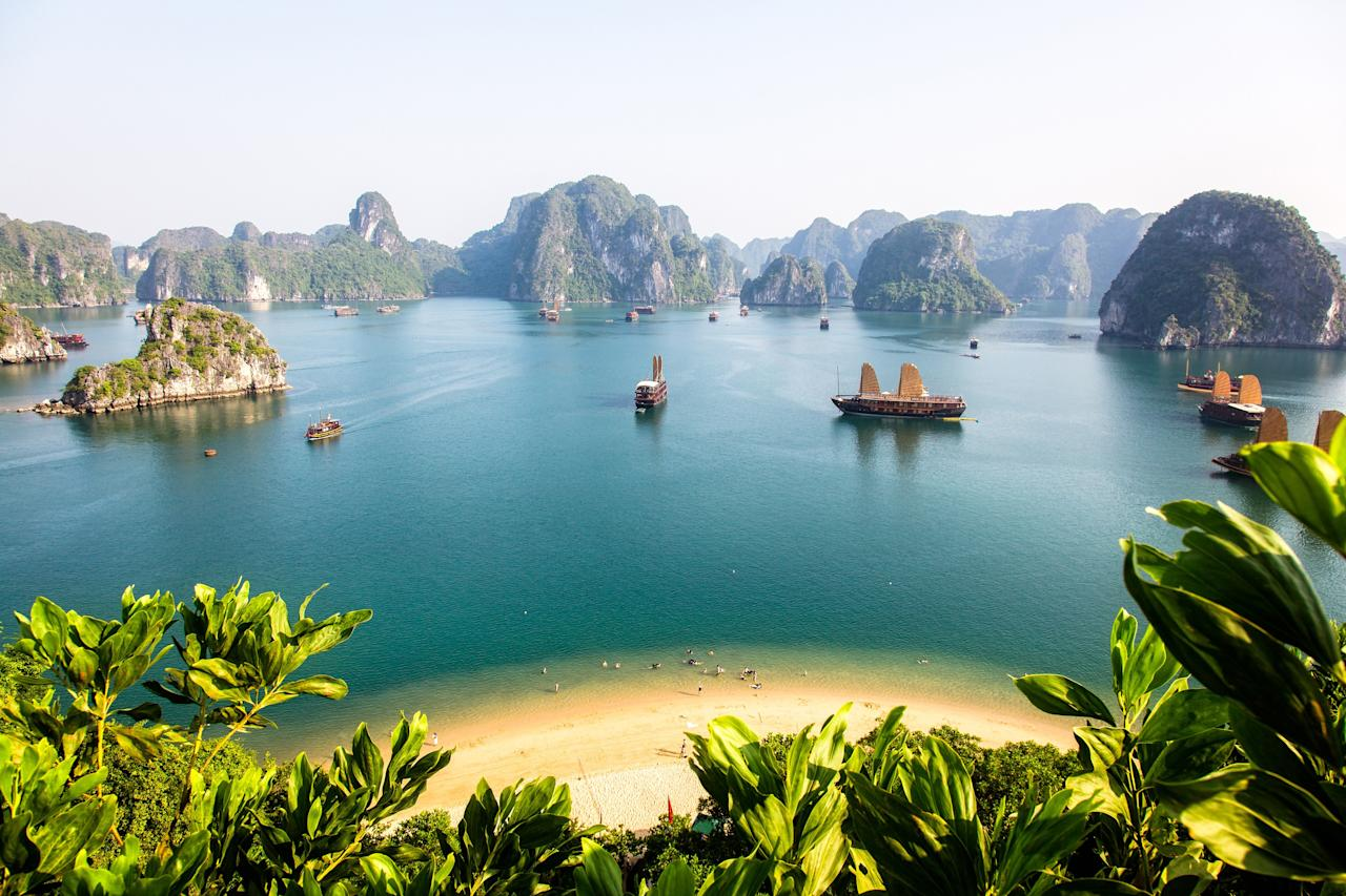 """<p><strong>1 USD = 23,238.50 VND</strong></p> <p>Plenty of countries in Southeast Asia are great deals for dollar-carriers right now, but we recommend a trip to Vietnam—in part because of the steadily increasing exchange rate (in April 2015, the dollar was hovering closer to around 21,564 dong), but mostly for the country's mind-blowing beauty. <a href=""""https://www.cntraveler.com/story/hanoi-time-and-again?mbid=synd_yahoo_rss"""">Hanoi</a> is arguably the most romantic city in the region, with timeless (and delicious) cuisine, incense-shrouded temples, and elegant French Quarter villas providing a dreamy respite for travelers. But don't be afraid to venture <a href=""""https://www.cntraveler.com/story/how-to-take-your-vietnam-trip-to-the-next-level?mbid=synd_yahoo_rss"""">off the beaten track</a> during your next visit: Places like <a href=""""https://www.cntraveler.com/story/how-to-take-your-vietnam-trip-to-the-next-level?mbid=synd_yahoo_rss"""">Ninh Van Bay and Phú Quốc island</a> have pristine beaches and intimate resorts you won't find in the more touristed areas.</p>"""