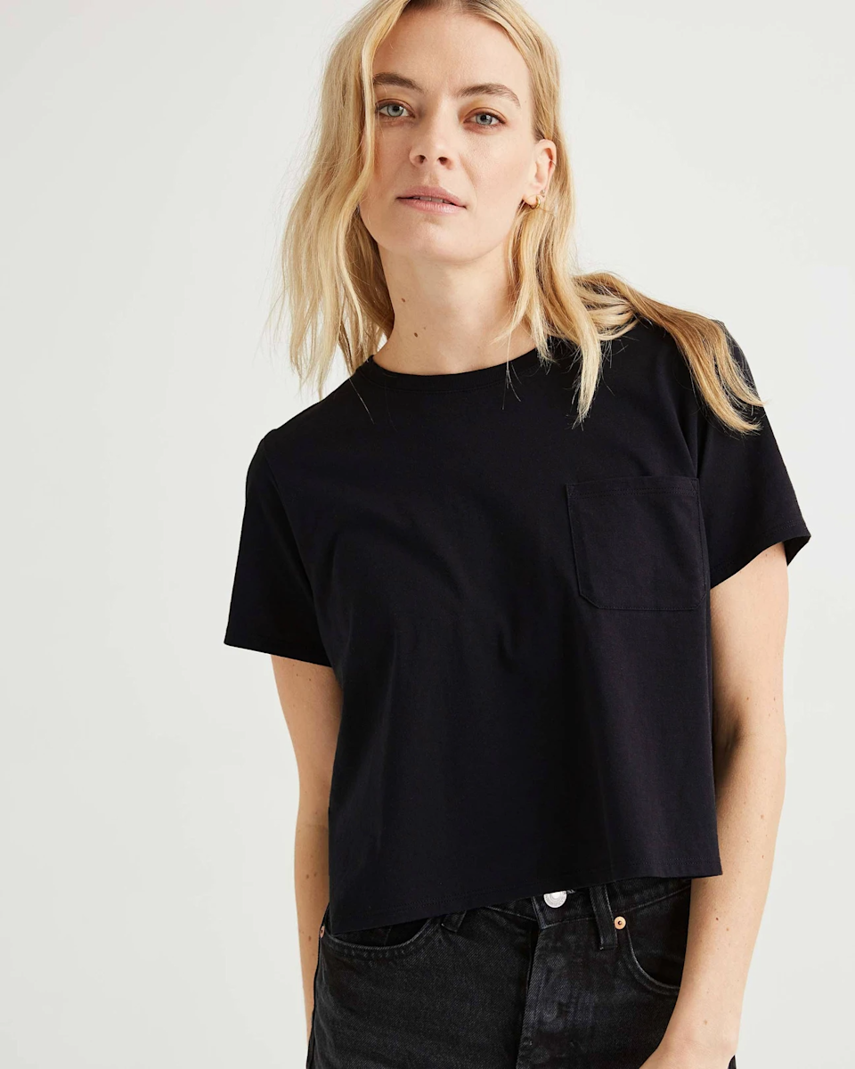 """<strong>The Cropped Pocket Tee</strong><br><br>Keep it cool with an A+ pocket tee that has everything you want — just the right crop, 100% cotton fabric, a scoop neckline, just-long-enough sleeves, and a classic pocket.<br><br><strong>The Hype:</strong> 5 out of 5 Stars on Richer Poorer<br><br><strong>What They're Saying:</strong> """"Most crop tops are still really revealing but these go well with all my usual high-waisted bottoms. They're soft and the colors are crisp. I bought 5 because I wanted quality plain colored shirts and I'm really happy with them. Washing them didn't destroy the color either, which I was worried about."""" - Vennessa, Richer Poorer Review<br><br><strong>Richer Poorer</strong> Pima Boxy Crop Tee, $, available at <a href=""""https://go.skimresources.com/?id=30283X879131&url=https%3A%2F%2Fricher-poorer.com%2Fcollections%2Fwomens-t-shirts%2Fproducts%2Fwomens-pima-boxy-crop-tee"""" rel=""""nofollow noopener"""" target=""""_blank"""" data-ylk=""""slk:Richer Poorer"""" class=""""link rapid-noclick-resp"""">Richer Poorer</a>"""