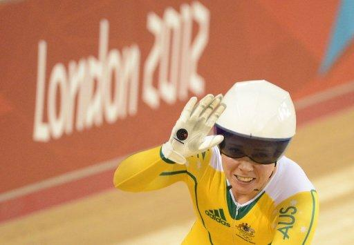 Australia's Kaarle Mcculloch celebrates after winning the Women's team sprint bronze on August 2