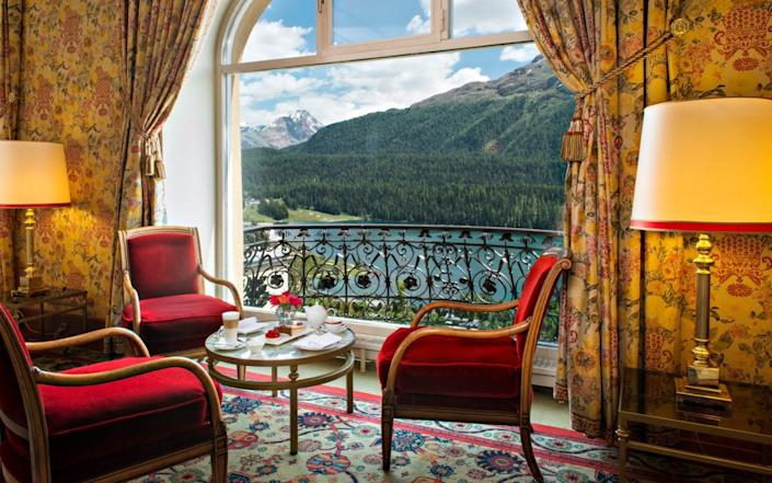 A seat with a view onto Lake St Moritz at Hotel Kulm