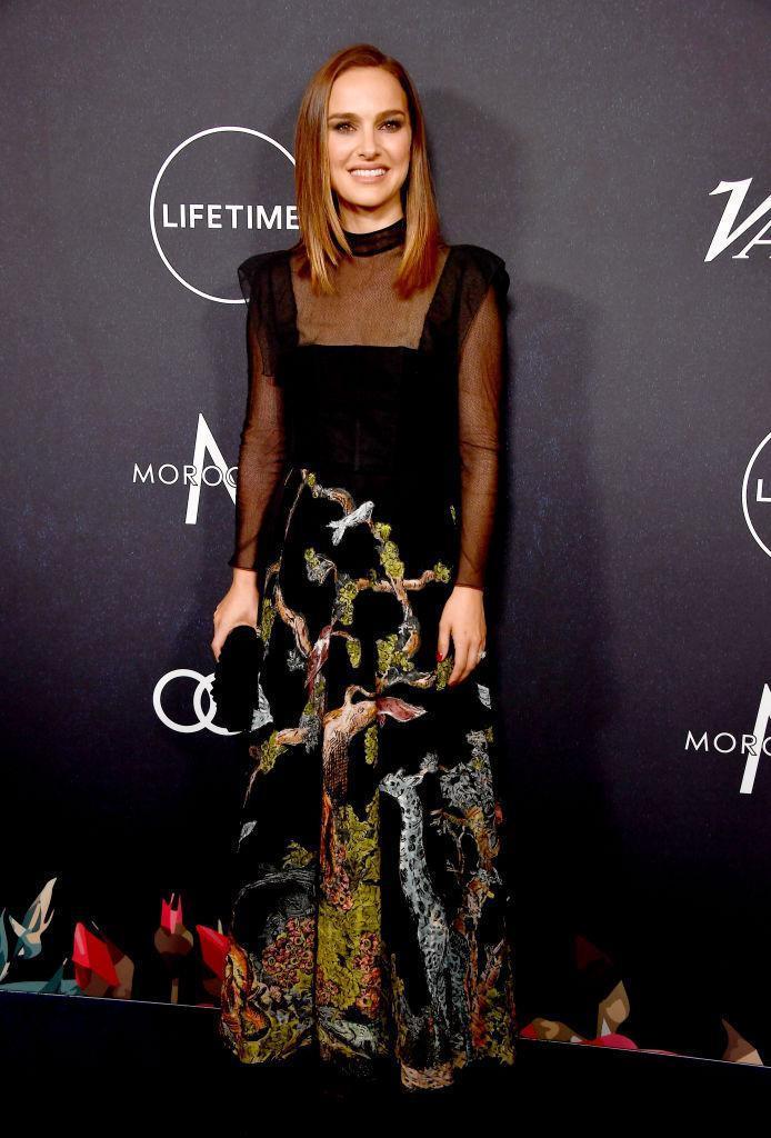 <p>Natalie Portman also attended the star-studded event in a sheer dress by Christian Dior. <em>[Photo: Getty]</em> </p>