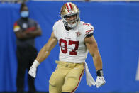 San Francisco 49ers defensive end Nick Bosa (97) reacts to a play against the Detroit Lions in the second half of an NFL football game in Detroit, Sunday, Sept. 12, 2021. (AP Photo/Duane Burleson)