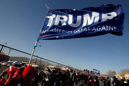 Trump supporters queue to enter El Paso County Coliseum for a rally by U.S. President Donald Trump in El Paso, Texas, U.S. February 11, 2019. REUTERS/Jose Luis Gonzalez