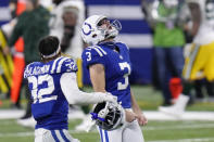 Indianapolis Colts kicker Rodrigo Blankenship (3) celebrates making the game winning field goal in overtime of an NFL football game against the Green Bay Packers, Sunday, Nov. 22, 2020, in Indianapolis. (AP Photo/AJ Mast)