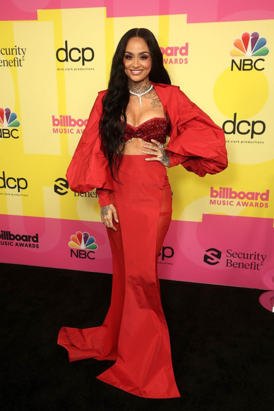 <p><strong>What: </strong>Tony Ward Couture<strong><u><strong><br></strong></u></strong></p><p><strong>Why: </strong>The West Coast singer kept in line with the unofficial taffeta theme by donning a red ensemble from Parisian atelier Tony Ward. Fitted with an embellished bustier, the hourglass silhouette features mutton-style sleeves and a floor-sweeping hem. Kehlani finished the look with a diamond tennis necklace. </p>