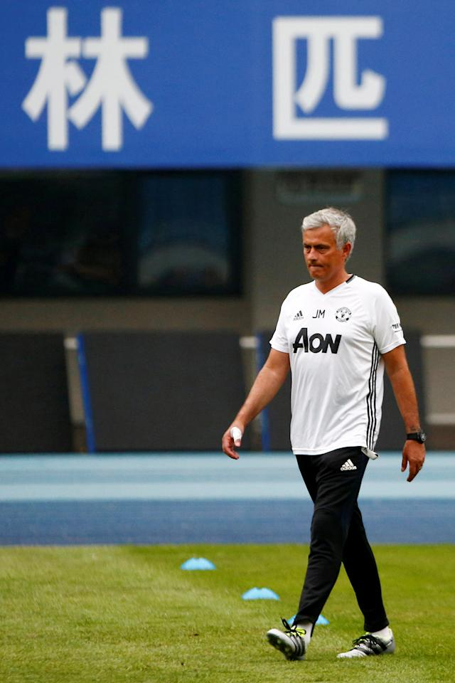Football Soccer - Manchester United training - International Champions Cup China - Olympic Sports Centre, Beijing, China - 24/7/16 - Manchester United coach Jose Mourinho attends training. REUTERS/Thomas Peter