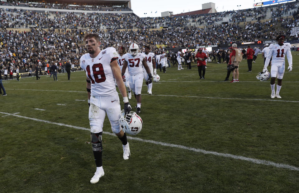 Stanford safety Stuart Head heads off the field after the second half of an NCAA college football game against Colorado, Saturday, Nov. 9, 2019, in Boulder, Colo. Colorado won 16-13. (AP Photo/David Zalubowski)