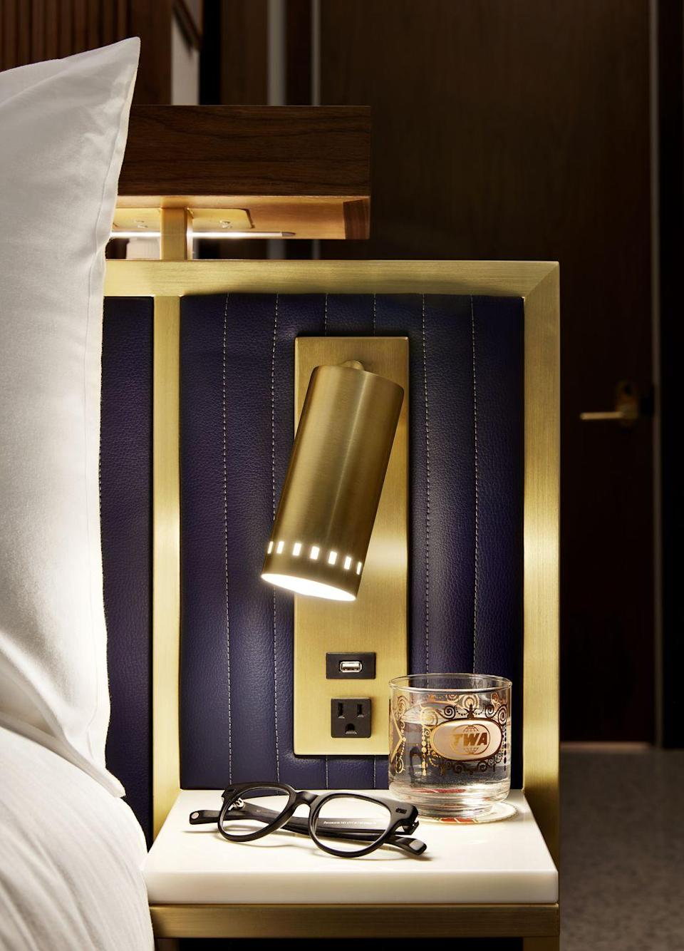 <p>The rooms were designed by New York City firm Stonehill Taylor and have brushed brass and wood accents.</p>