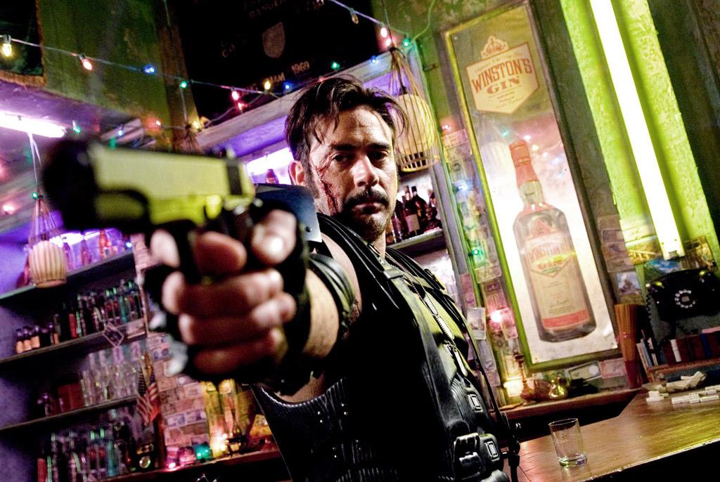 """<a href=""""http://movies.yahoo.com/movie/contributor/1800162296"""">Jeffrey Dean Morgan</a> as Edward Blake, aka The Comedian, in Warner Bros. Pictures' <a href=""""http://movies.yahoo.com/movie/1808406490/info"""">Watchmen</a> - 2009"""