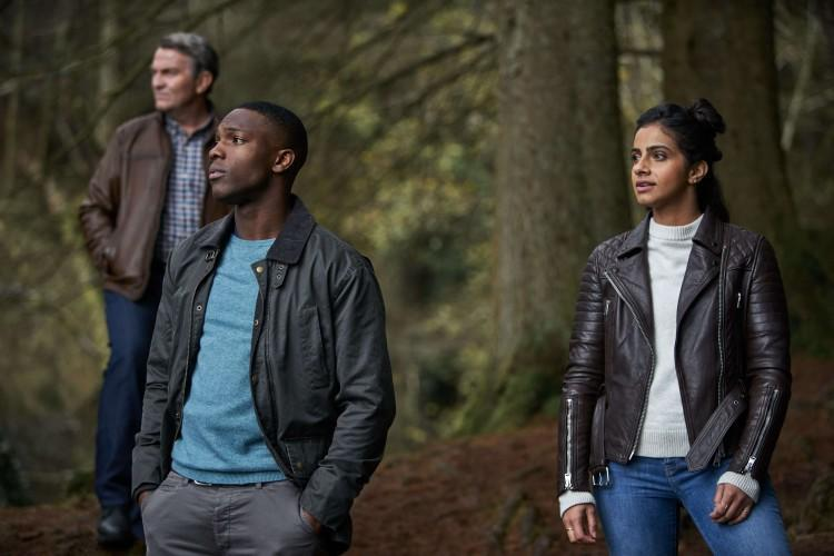 Bradley Walsh, Tosin Cole and Mandip Gill in Doctor Who: It Takes You Away (BBC)