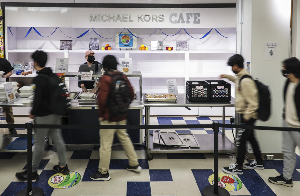BURLINGTON - MARCH 16: Pat Teague, executive chef of the Burlington School District, works the lunch counter at the Michael Kors Cafe, located at Burlington High School's new campus in Burlington, VT on March 16, 2021.