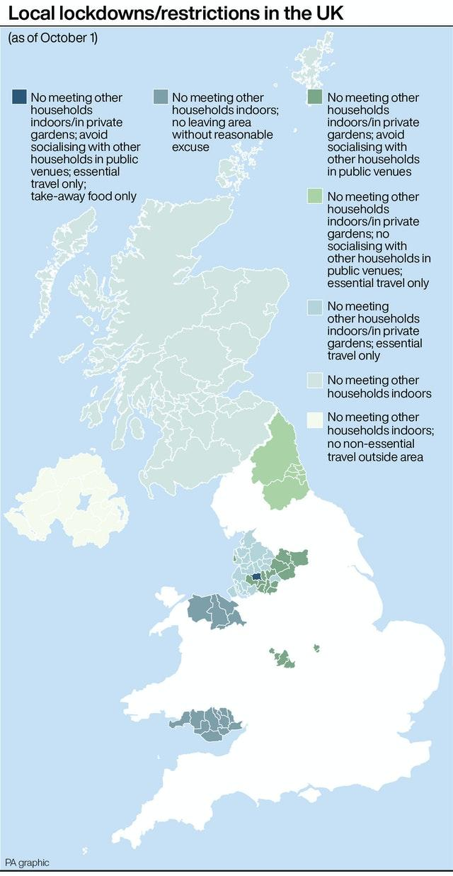 PA infographic about local lockdowns/restrictions in the UK