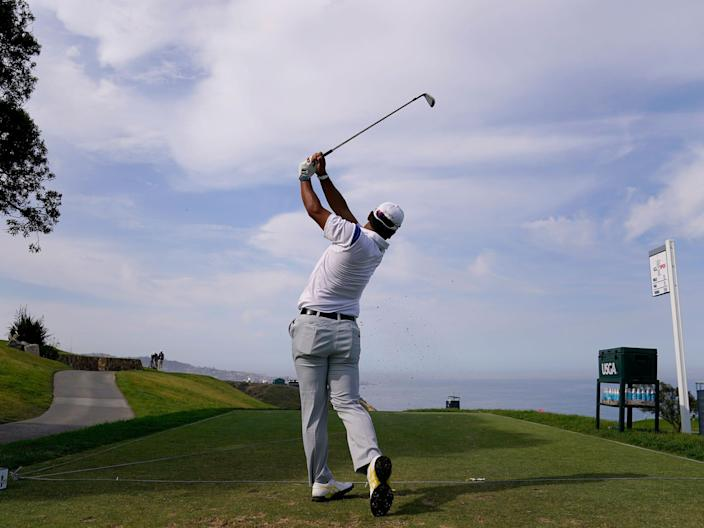 Hideki Matsuyama tees off during a practice round ahead of the 2021 US Open at Torrey Pines.