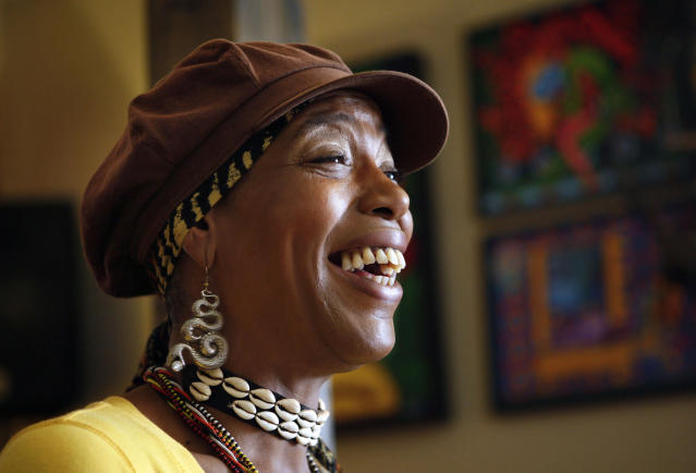 <p>Youree Dell Harris, better known as Miss Cleo the TV psychic, died at 53 on July 26. — (Pictured) Cleo Harris, best known as Miss Cleo the face and voice of the Psychic Friends Network television ads is shown in Lake Worth, Florida in 2009, where she lived and had an Internet radio show. (Lilly Echeverria/Miami Herald/MCT via Getty Images) </p>
