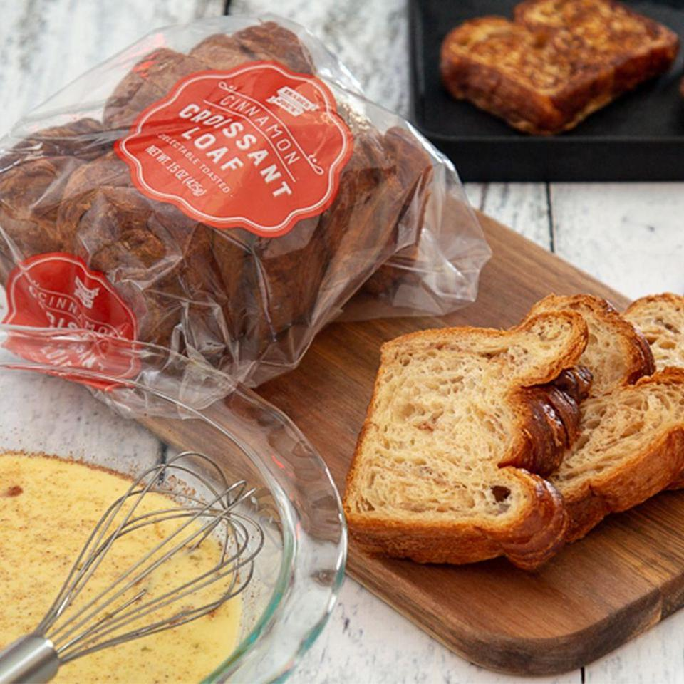 """<p>Breakfast is getting turned up a notch! <a href=""""https://www.traderjoes.com/digin/post/cinnamon-croissant-loaf"""" rel=""""nofollow noopener"""" target=""""_blank"""" data-ylk=""""slk:Trader Joe's now offers a Cinnamon Croissant Loaf"""" class=""""link rapid-noclick-resp"""">Trader Joe's now offers a Cinnamon Croissant Loaf</a>, and it's like a cross between TJ's Cinnamon Swirl Bread and a buttery, flaky croissant. You can find the loaf in the bakery section for $5.99.</p>"""