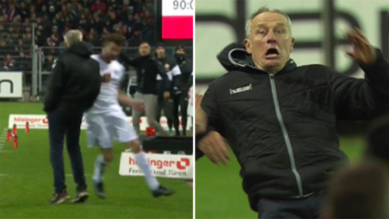 Frankfurt captain David Abraham shoulder charged opposition manager Christian Streich. (Images: Twitter)