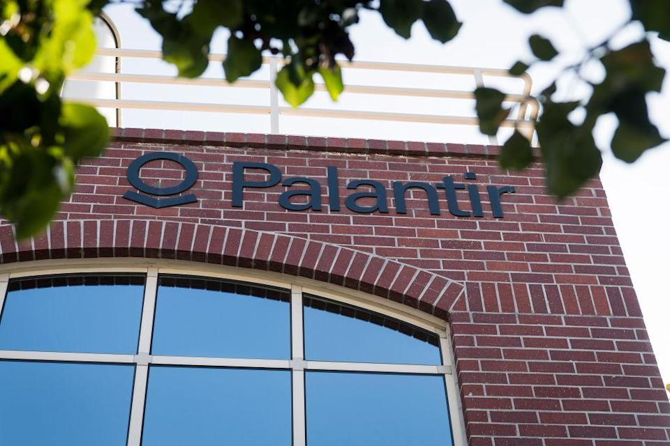 Palantir Technologies Inc. signage is displayed outside the company's headquarters in Palo Alto, California, U.S., on Tuesday, Nov. 5, 2019. BP Plc, one of the world's biggest oil and gas companies, is a shareholder in secretive U.S. data-mining firm Palantir Technologies Inc., the Sunday Times reported. Photographer: David Paul Morris/Bloomberg via Getty Images