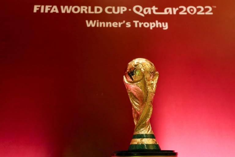 The World Cup trophy was on display during the African qualifying draw in Cairo in January (AFP Photo/Mohamed el-Shahed)
