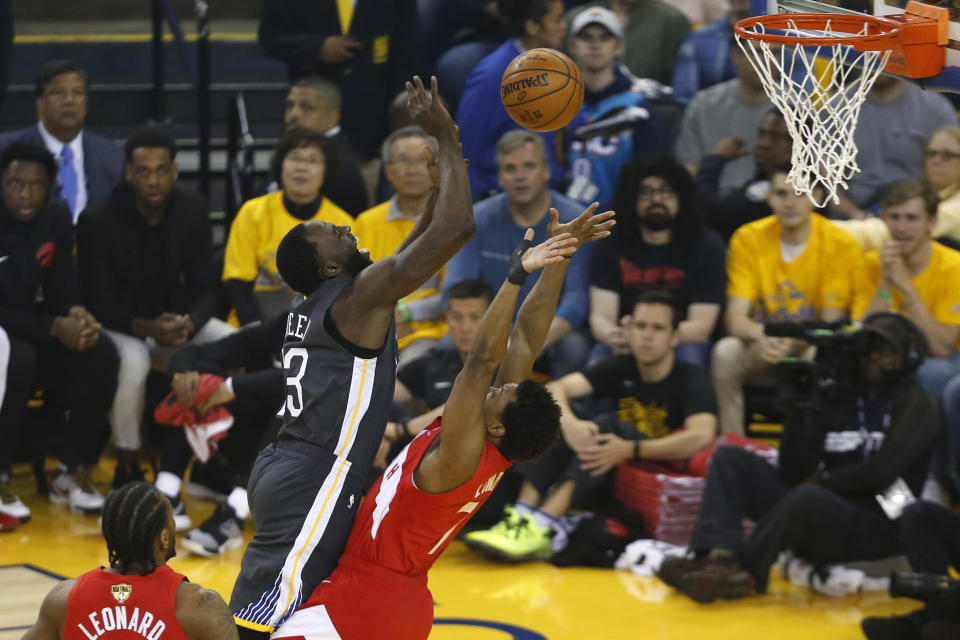 Draymond Green #23 of the Golden State Warriors drives to the basket against Kyle Lowry #7 of the Toronto Raptors in the first half during Game Four of the 2019 NBA Finals at ORACLE Arena on June 07, 2019 in Oakland, California. (Photo by Lachlan Cunningham/Getty Images)