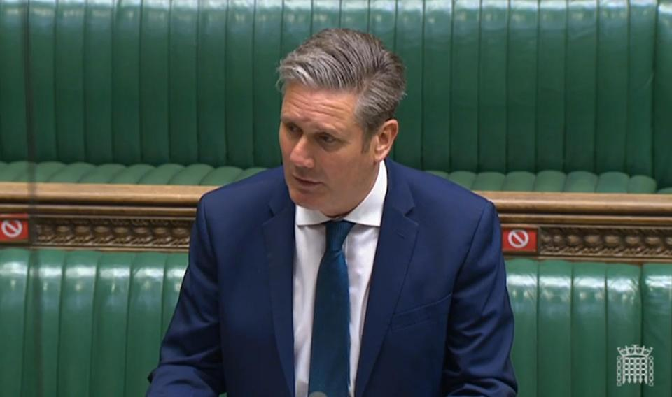 Labour leader Sir Keir Starmer responds after Prime Minister Boris Johnson spoke about the Covid-19 pandemic in the House of Commons, London. Picture date: Wednesday May 12, 2021.