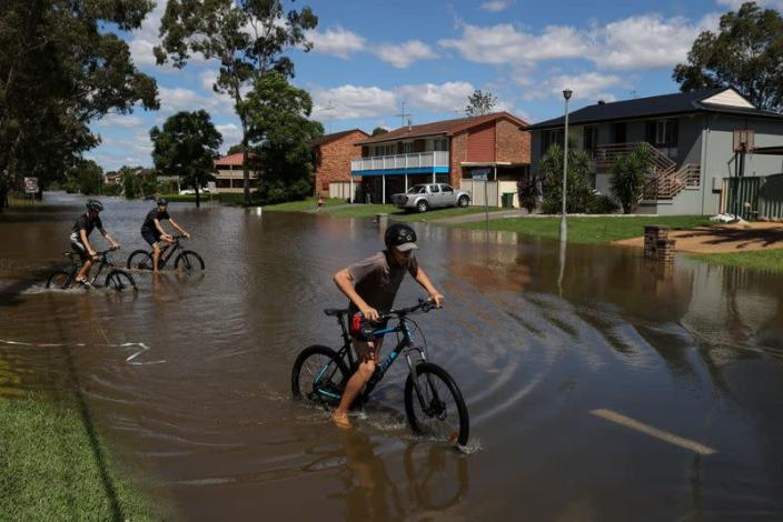 Severe flooding affects the suburb of McGraths Hill in western Sydney