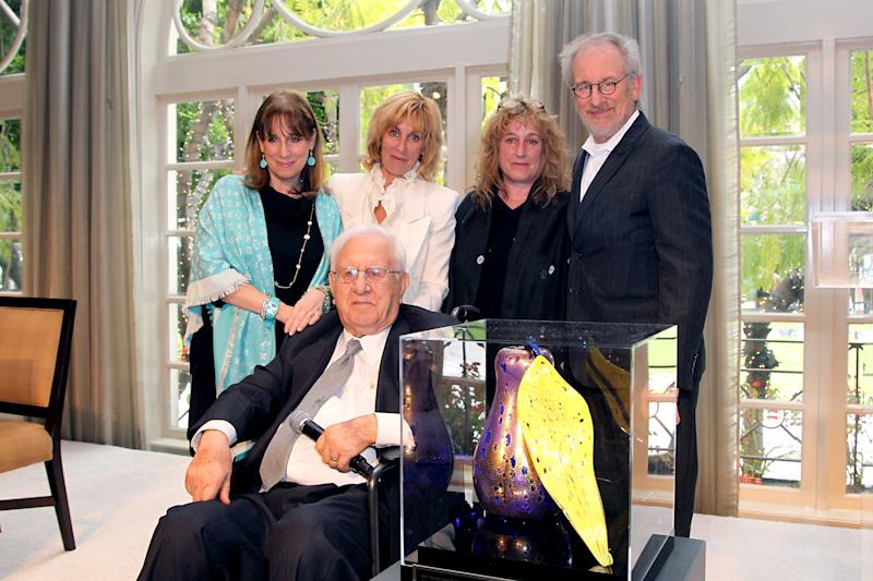 BEVERLY HILLS, CA - APRIL 26: (L-R) Sue Spielberg, Nancy Spielberg, Anne Spielberg, Steven Spielberg and Arnold Spielberg attend the USC Shoah Foundation's Inaugural Inspiration Award & Luncheon at Four Seasons Hotel Los Angeles at Beverly Hills on April 26, 2012 in Beverly Hills, California. (Photo by FilmMagic/FilmMagic)