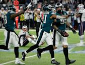 <p>Philadelphia Eagles' Derek Barnett (96) celebrates after recovering a fumble by New England Patriots' Tom Brady, sitting, during the second half of the NFL Super Bowl 52 football game Sunday, Feb. 4, 2018, in Minneapolis. (AP Photo/Matt York) </p>