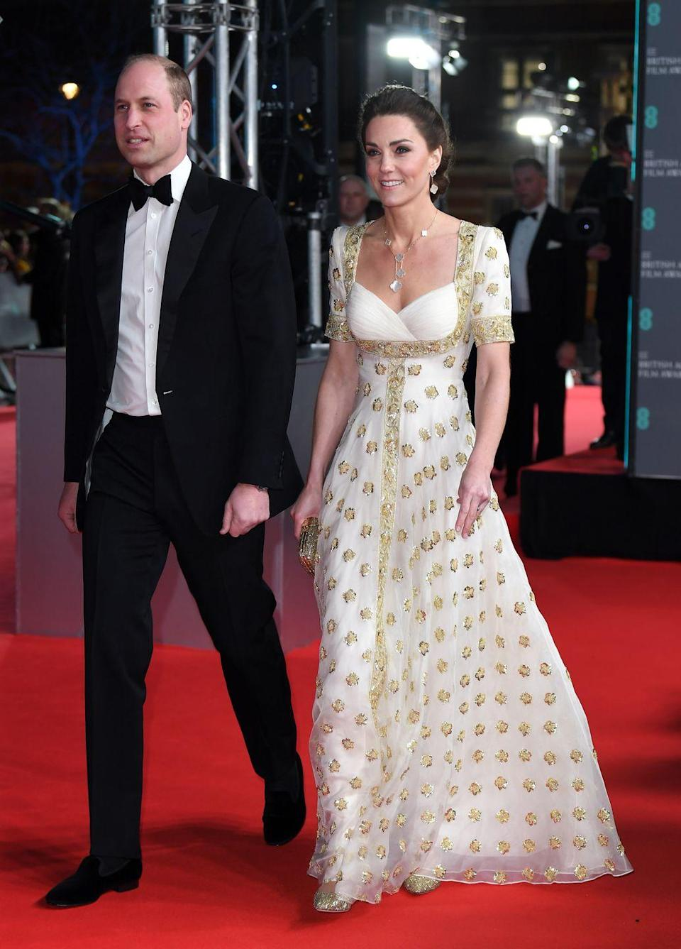 <p>For the 2020 BAFTAs the Duchess wore a slightly altered version of this heavenly Alexander McQueen gown, which she first wore eight years ago. </p>
