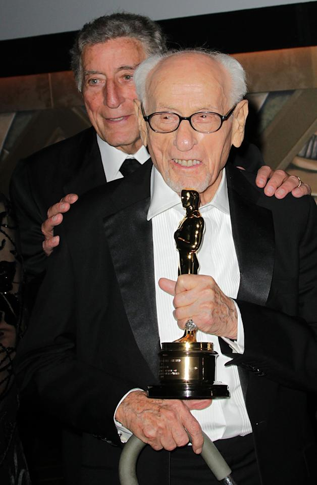 """<a href=""""http://movies.yahoo.com/movie/contributor/1800103772"""">Tony Bennett</a> and <a href=""""http://movies.yahoo.com/movie/contributor/1800012575"""">Eli Wallach</a> attend the 2nd Annual AMPAS Governors Awards in Los Angeles on November 13, 2010."""