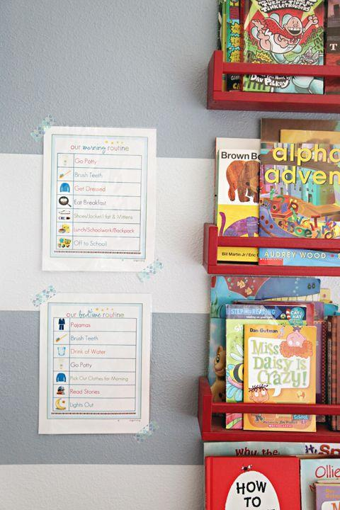 """<p>Help little ones establish a morning and bedtime schedule with an illustrated checklist that gets displayed proudly on the wall. As they get older, they'll be able to go down the list for themselves and become more independent. </p><p><em><a class=""""link rapid-noclick-resp"""" href=""""http://www.iheartorganizing.com/2013/08/back-to-school-organization.html"""" rel=""""nofollow noopener"""" target=""""_blank"""" data-ylk=""""slk:See more on I Heart Organizing »"""">See more on I Heart Organizing »</a></em></p><p><strong>RELATED: </strong><a href=""""https://www.goodhousekeeping.com/life/parenting/g31669687/daily-schedule-for-kids-visual-routines/"""" rel=""""nofollow noopener"""" target=""""_blank"""" data-ylk=""""slk:The Best Daily Schedules for Kids to Keep Everyone on Track"""" class=""""link rapid-noclick-resp"""">The Best Daily Schedules for Kids to Keep Everyone on Track</a></p>"""