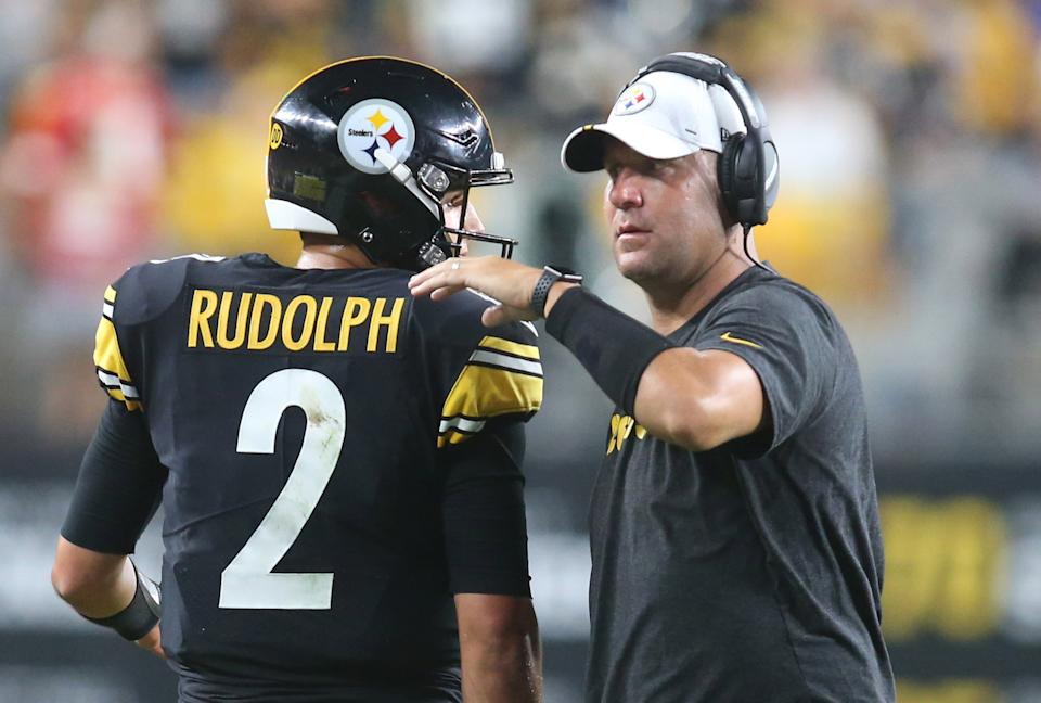 Aug 17, 2019; Pittsburgh, PA, USA;  Pittsburgh Steelers quarterback Mason Rudolph (2) is congratulated after a touchdown drive by quarterback Ben Roethlisberger (right) against the Kansas City Chiefs during the second quarter at Heinz Field. Mandatory Credit: Charles LeClaire-USA TODAY Sports