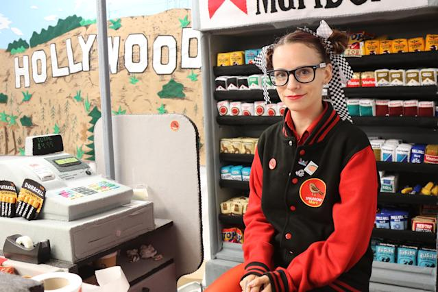 British artist Lucy Sparrow behind the felt register at the pop-up gallery Sparrow Mart in Los Angeles. (Photo: Angela Kim/Yahoo Lifestyle)