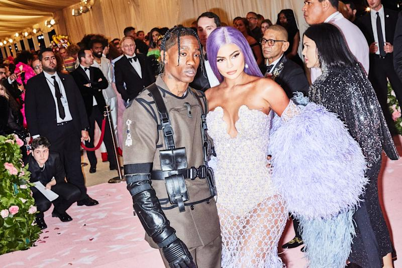 Travis Scott and Kylie Jenner on the red carpet at the Met Gala in New York City on Monday, May 6th, 2019. Photograph by Amy Lombard for W Magazine.