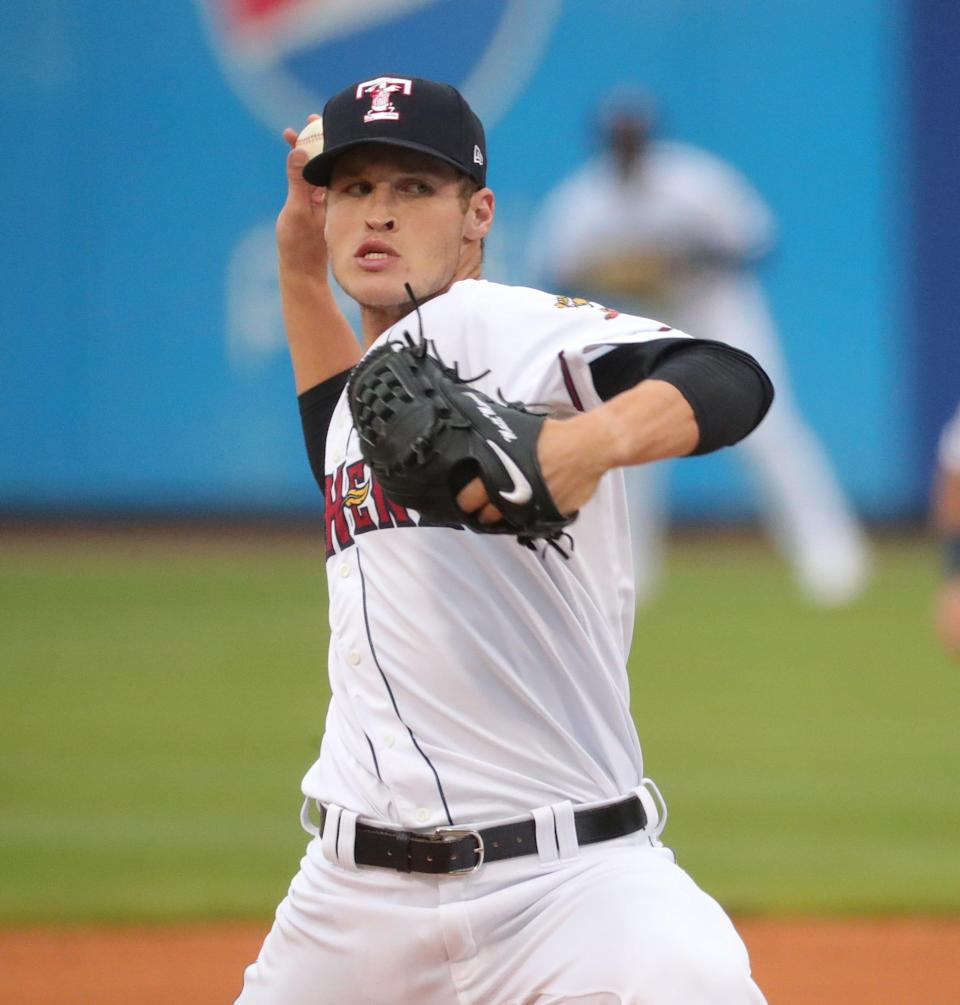 Toledo Mud Hens pitcher Matt Manning pitches Tuesday May, 4, 2021, against the Nashville Sounds in Toledo, Ohio.