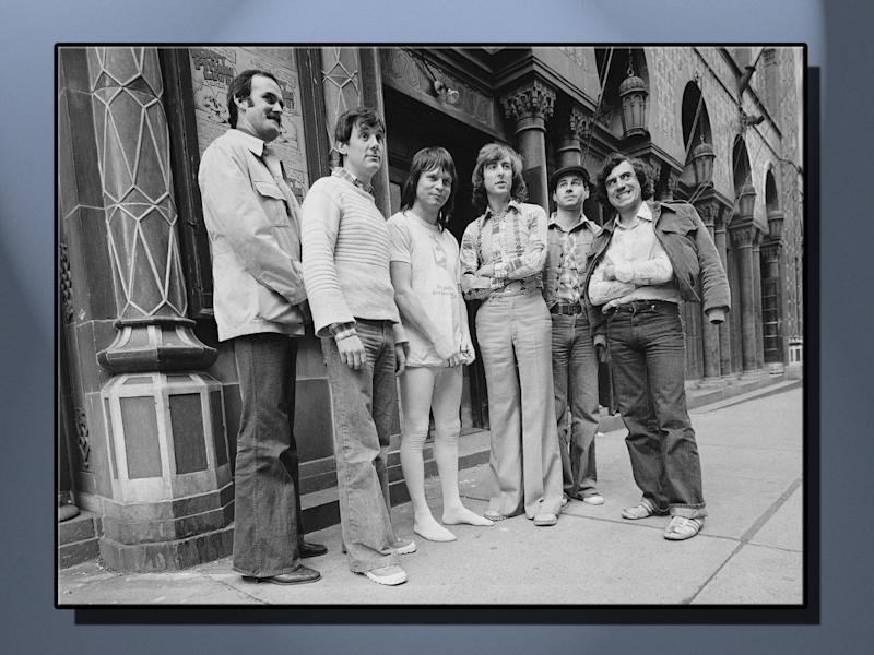 Monty Python's Flying Circus comedy troupe (l-r): John Cleese, Michael Palin, Terry Gilliam, Eric Idle, Graham Chapman, and Terry Jones, on texture, partial graphic