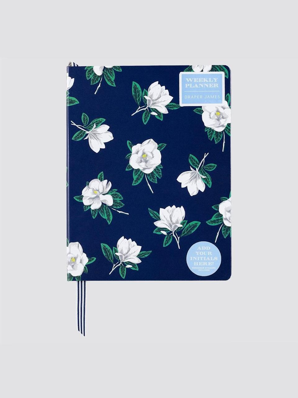 """<h3><a href=""""https://draperjames.com/products/magnolia-weekly-planner"""" rel=""""nofollow noopener"""" target=""""_blank"""" data-ylk=""""slk:Draper James Magnolia Weekly Planner"""" class=""""link rapid-noclick-resp"""">Draper James Magnolia Weekly Planner</a></h3> <br>The undated year, month, and week views of this planner mean you can use it whenever and however it suits your schedule and organization goals. There are even monogram stickers for personalization to give it that extra-special touch. <br><br><strong>Draper James</strong> Magnolia Weekly Planner, $, available at <a href=""""https://go.skimresources.com/?id=30283X879131&url=https%3A%2F%2Fdraperjames.com%2Fproducts%2Fmagnolia-weekly-planner"""" rel=""""nofollow noopener"""" target=""""_blank"""" data-ylk=""""slk:Draper James"""" class=""""link rapid-noclick-resp"""">Draper James</a><br>"""